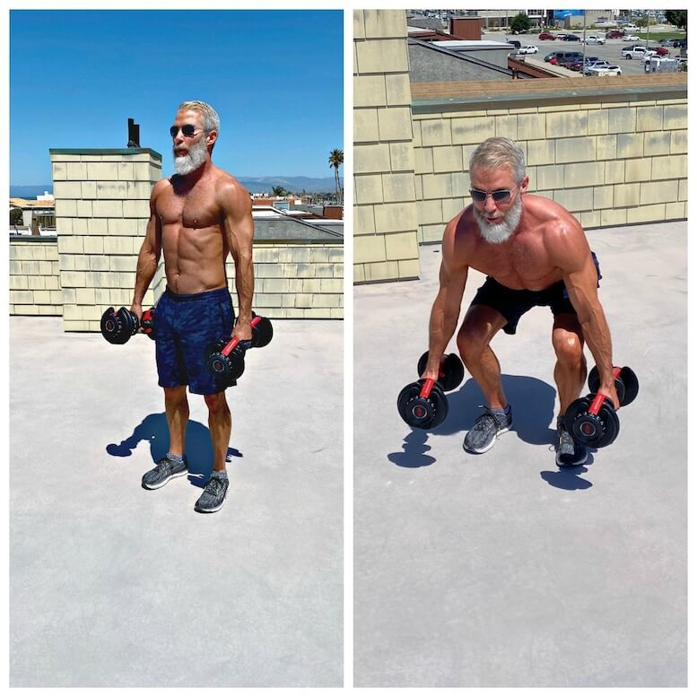 Dane Findley, age 54, strengthens his thighs and leg muscles using dumbbells.