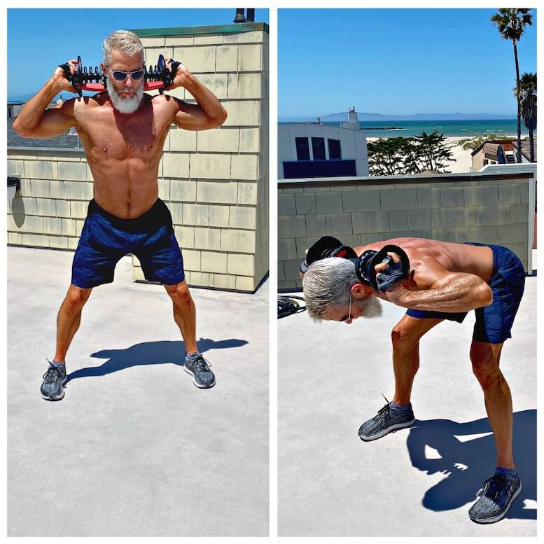 Silver-bearded athlete does Good Morning exercise to develop leg muscles and lower back.
