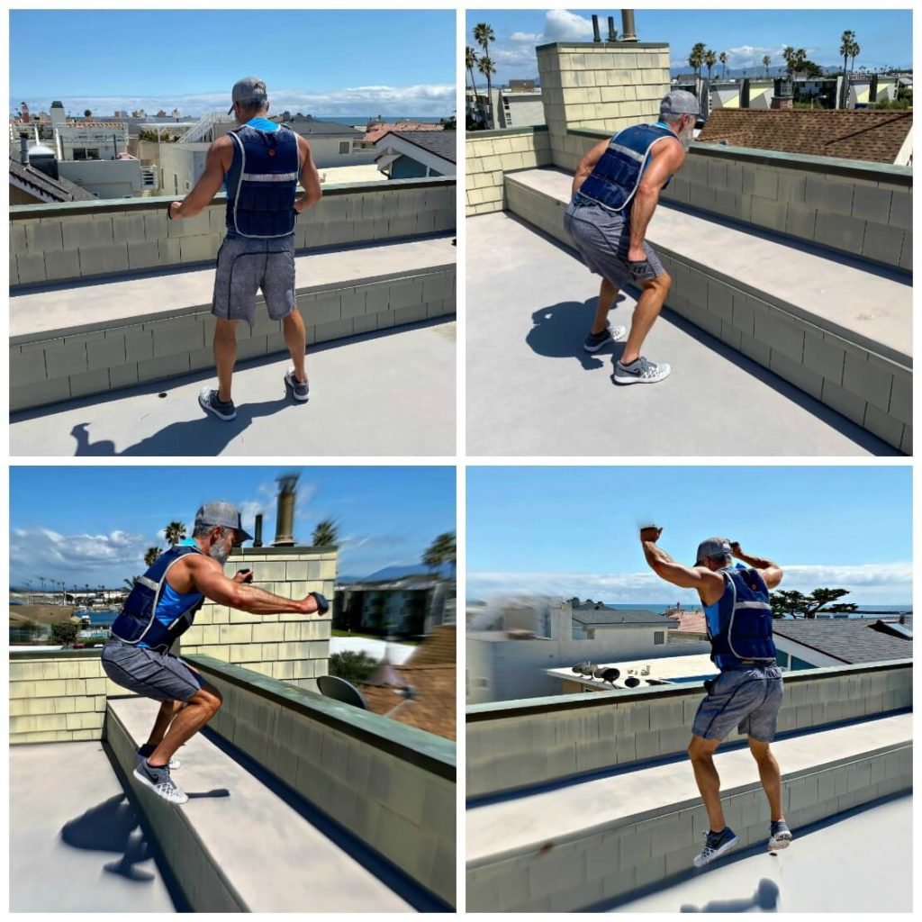 Dane Findley, age 54, does plyometric bench jumps while wearing a weighted vest.