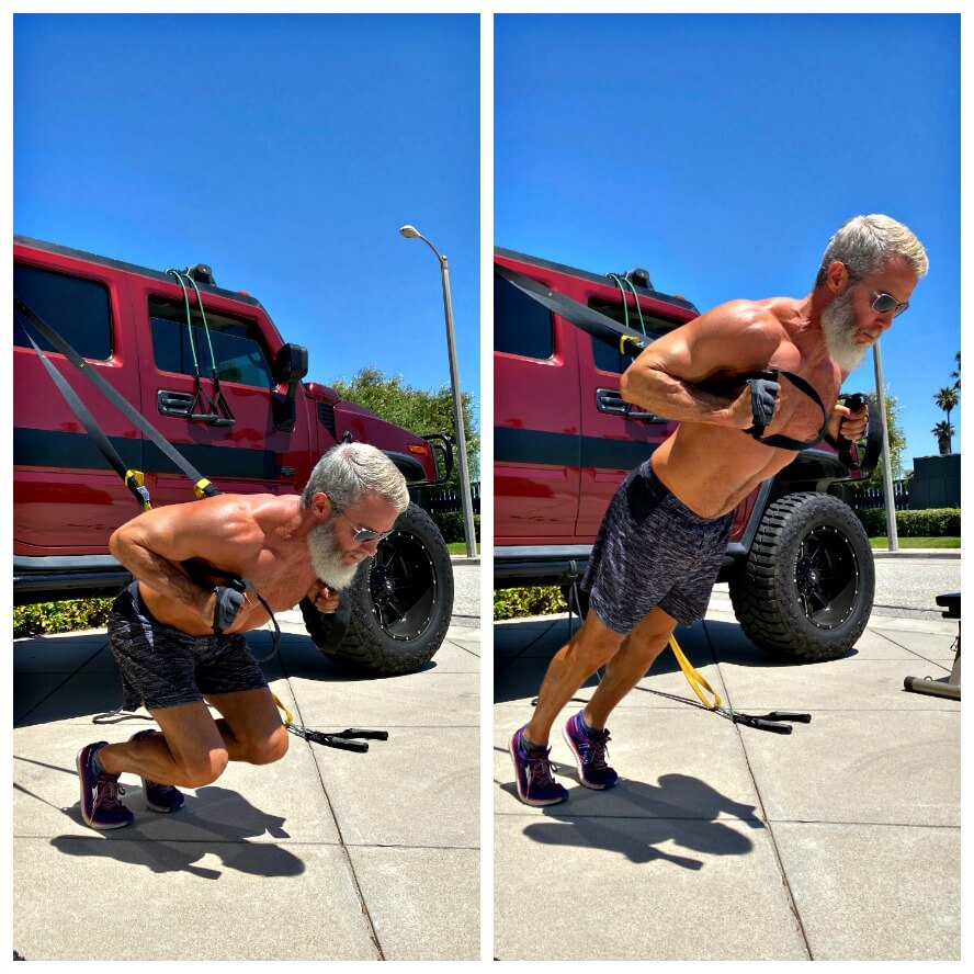 TRX sissy squat exercise during driveway training.