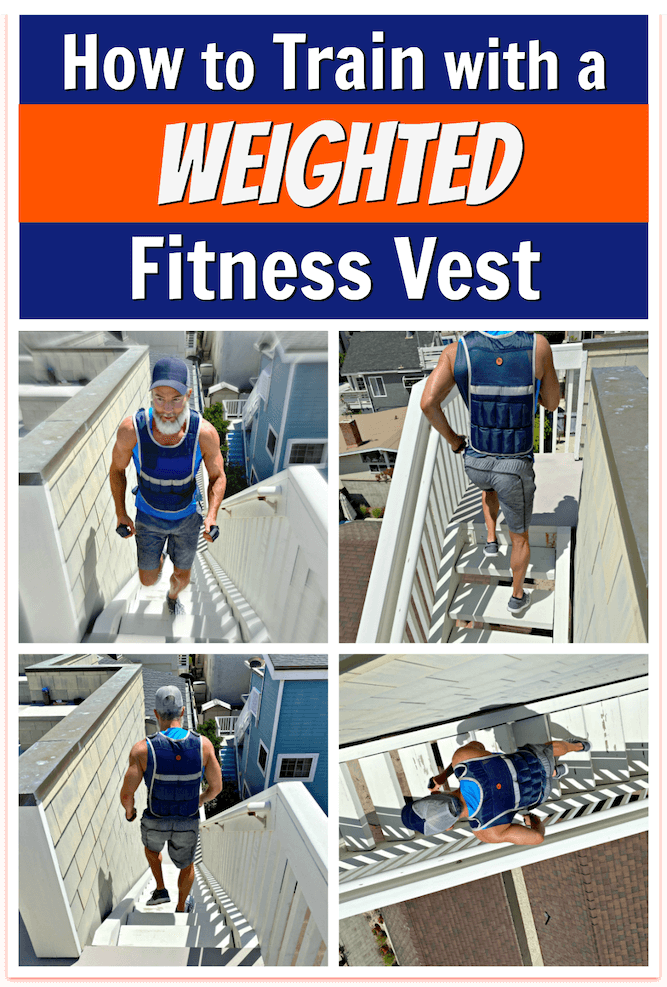 Older man running stairs wearing weighted fitness vest.