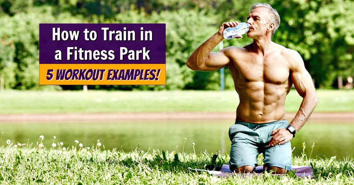Mature male athlete hydrating after fun and intense workout in a fitness park.