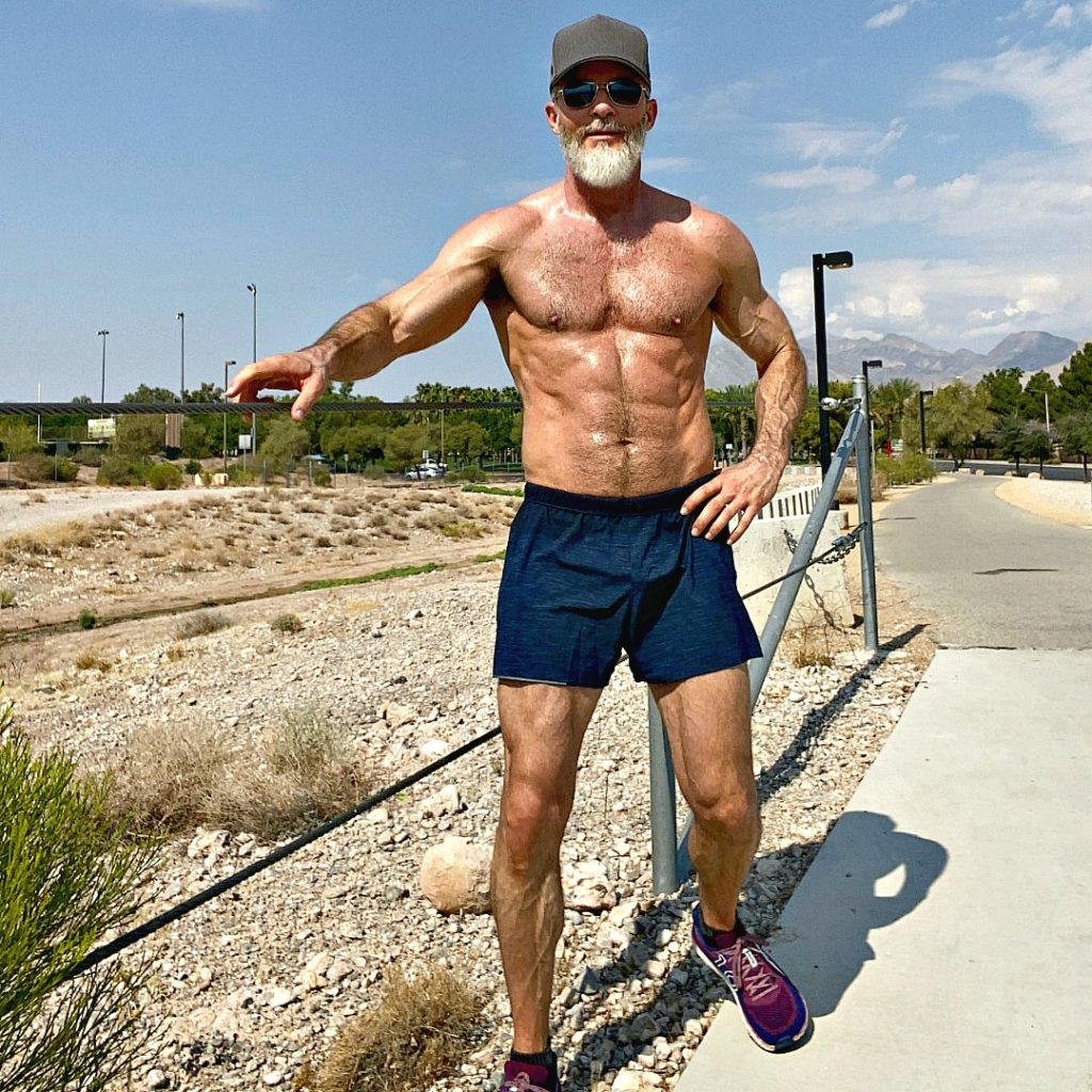 mature athlete over fifty during sprints workout