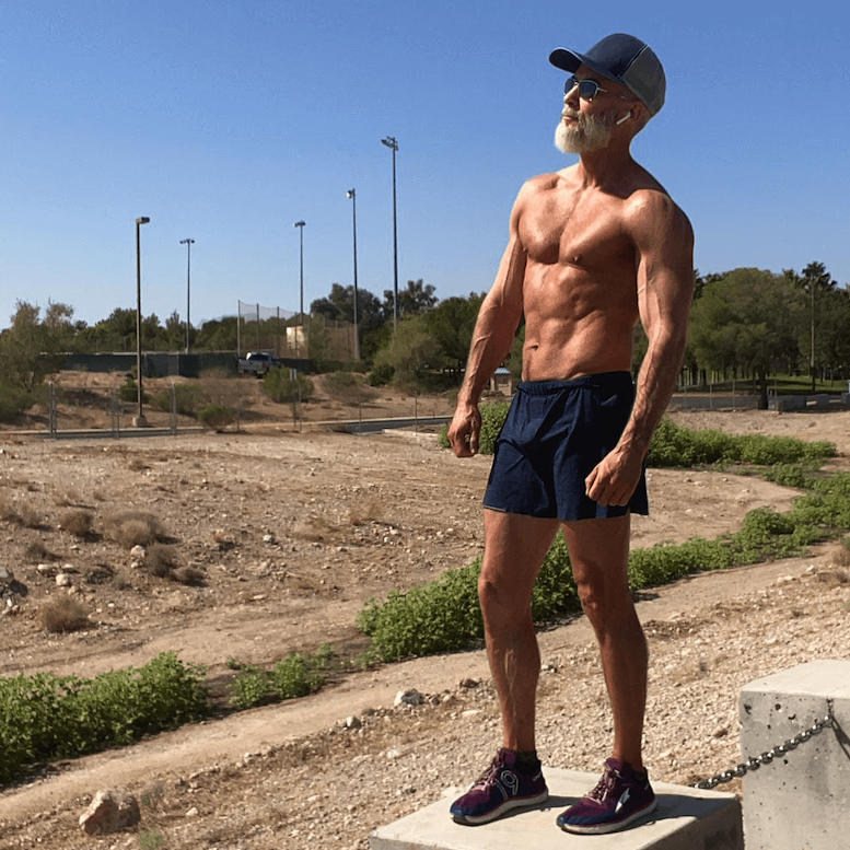 mature athlete outdoors exercises