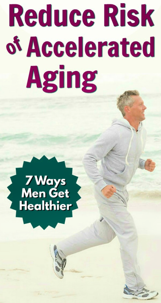 Mature man reducing aging risk by exercising on beach.