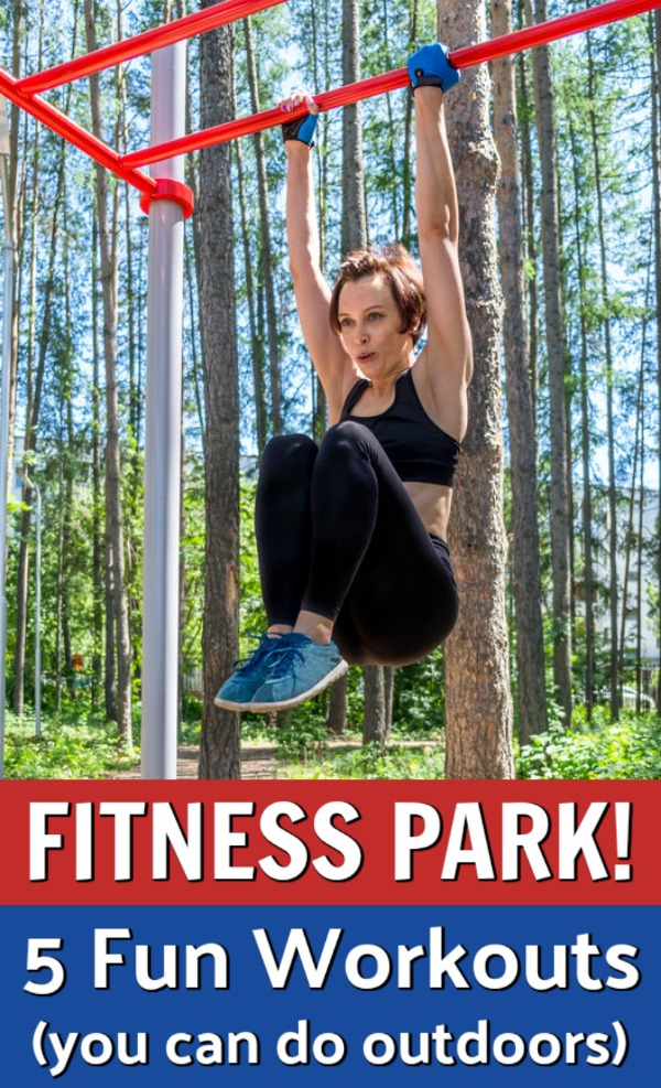 woman exercising in fitness park