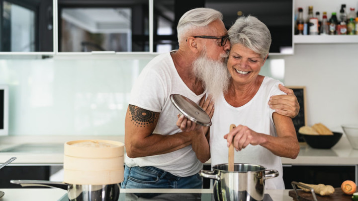 fit mature couple with healthier skin being affectionate