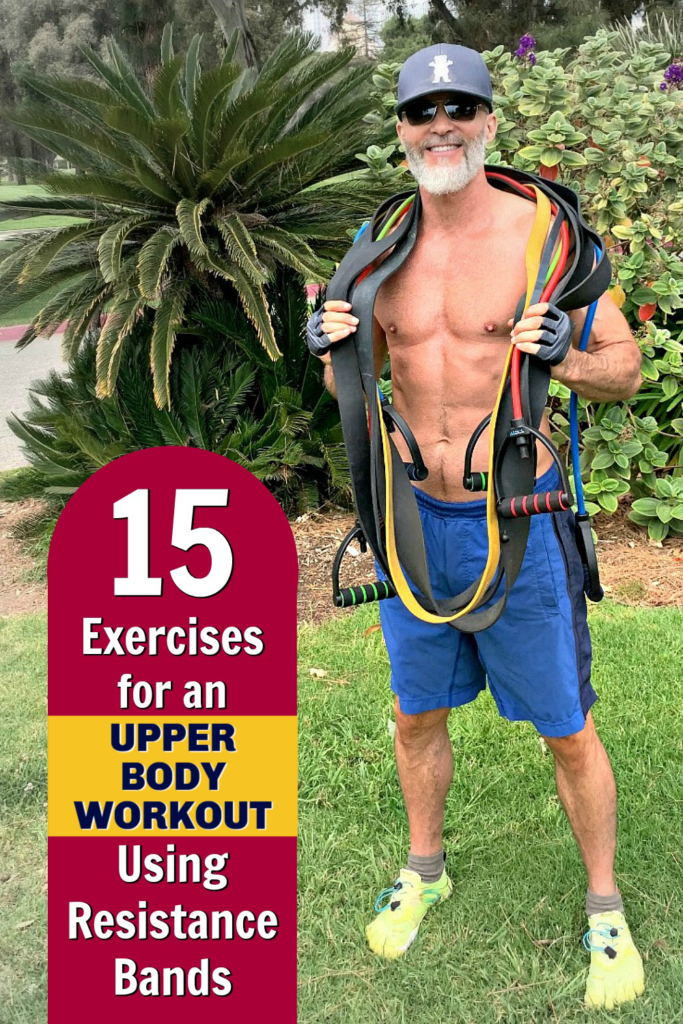 mature athlete training with a variety of resistance bands for the upper body