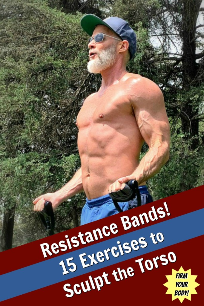 Mature athlete using resistance band to train upper body