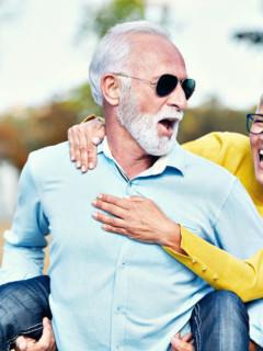 mature couple reversing autoimmune symptoms happily