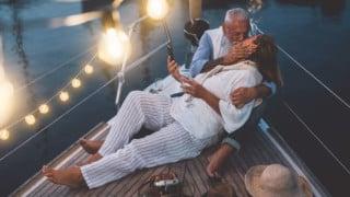 healthy senior couple has romantic stamina