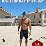 mature athlete doing barefoot beach workout