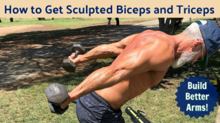 mature athlete sculpting arms