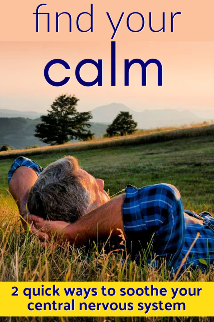 healthy mature man finding his inner calm outdoors