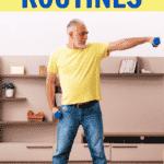 senior man exercising at home