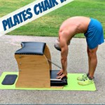 mature athlete doing pilates chair workout at park