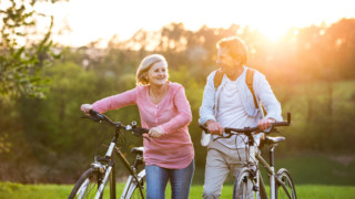 senior couple having positive thoughts and positive experiences