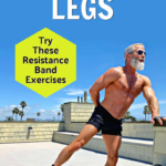 over-50 athlete trains legs outdoors with resistance bands