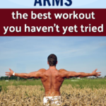fit man with sculpted arms stretching