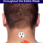 man with plug outlet in neck symbolizing stamina increase