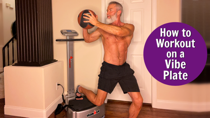 older athlete doing home workout on vibe plate