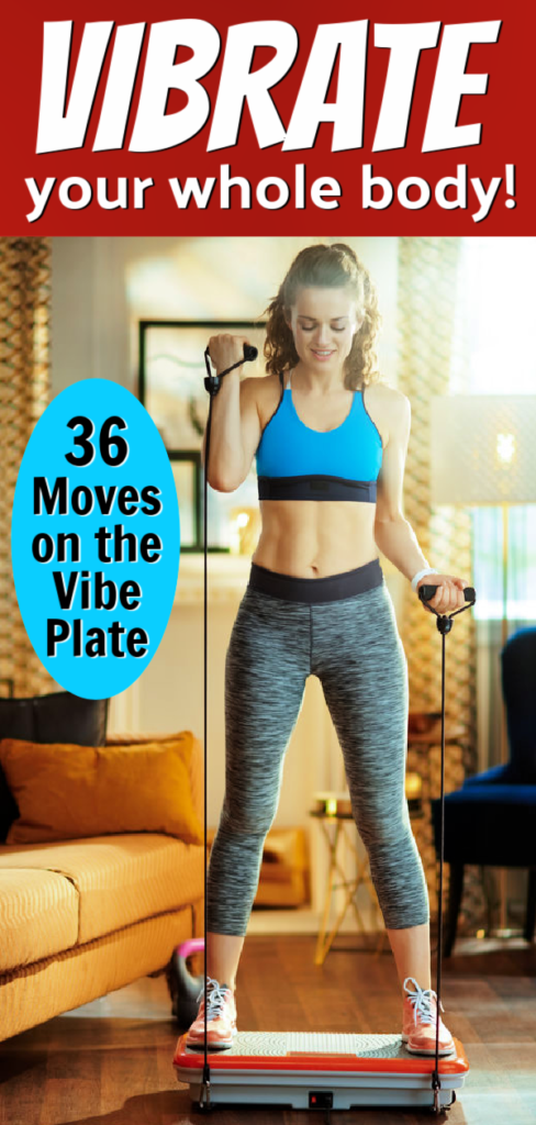 healthy woman exercising on vibe plate