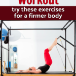 fit woman using pilates trapeze table