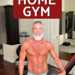 Mature, fit athlete training in his home gym.