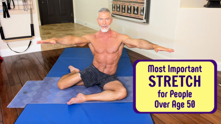 Dane Findley, age 56, demonstrates important hip stretch