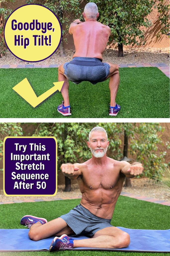 mature athlete doing hip stretch sequence after 50