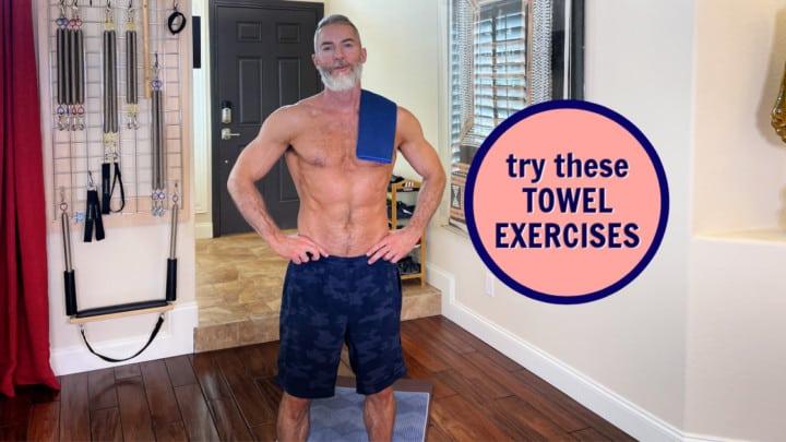 mature athlete preparing for towel exercises